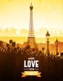 Plakat mit Ansichten von Paris vektor abbildung