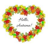 Plakat mit buntem Herbstlaub und Aufschrift Herbstvektor Vektor Abbildung