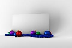 Plakat mit bunten Weihnachtsdekorationen Stockfotografie