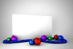 Plakat mit bunten Weihnachtsdekorationen Stockbilder