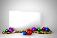 Plakat mit bunten Weihnachtsdekorationen Lizenzfreies Stockfoto
