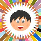 Plakat mit bunten Zeichenstiften in einem Kreis auf einem weißen Hintergrund und mit Kind-` s glücklichem Gesicht in der Mitte vektor abbildung