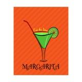 Plakat mit dem Bild von Margarita mit Kalk auf orange Hintergrund Stockfotos