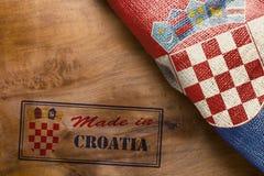 Plakat mit dem Druck hergestellt in Kroatien Stockfotografie