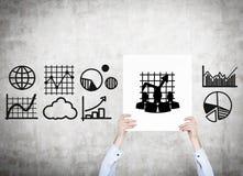 Plakat mit Diagrammen und Diagrammen Lizenzfreies Stockfoto