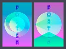 Plakat mit flachem geometrischem Neonmuster Ganz eigenhändig geschriebe bunte grafische Hintergründe Retro- Fahne, Flieger, Brosc Stockfotos