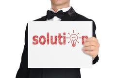 Plakat mit Lösung Lizenzfreie Stockfotografie