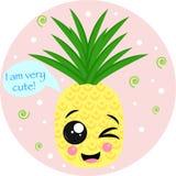 Plakat mit netter Ananasvektorillustration, ENV stock abbildung