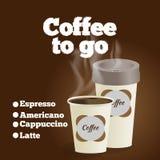 Plakat mit Papiertasse kaffee-Beschriftungskaffee zum mitnehmen auf Braun Stock Abbildung