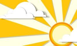 Plakat mit Sonne und Wolken Lizenzfreies Stockbild