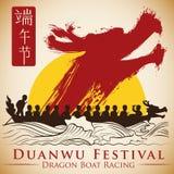 Plakat mit steigendem Drachen in der Pinselstrich-Art für Duanwu-Festival, Vektor-Illustration Stockbilder
