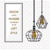 Plakat mit stilvollem, modern, geometrisch, Designerleuchter Stockfoto