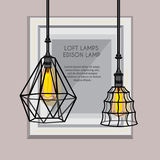 Plakat mit stilvollem, modern, geometrisch, Designerleuchter Lizenzfreie Stockbilder