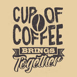 Plakat mit von Hand gezeichnetem Kaffeeslogan Kreative vektorabbildung lizenzfreie abbildung