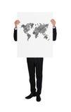 Plakat mit Weltkarte Stockfotografie