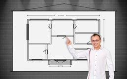 Plakat mit Zeichnungsplan Stockbilder