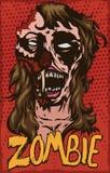 Plakat mit Zombie-Frau im Knall Art Design, Vektor-Illustration lizenzfreie abbildung