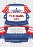 Plakat- oder Broschürenschablonen in der Veteranentagesart Stockfoto