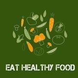 Plakat oder Fahne auf grünem Hintergrund mit modischen linearen Ikonen und Zeichen des Gemüses Lizenzfreies Stockbild