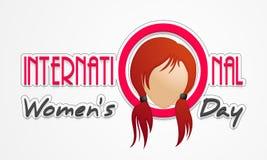 Plakat oder Fahne für Feier der internationalen Frauen Tages Lizenzfreies Stockfoto