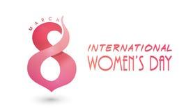 Plakat oder Fahne für Feier der internationalen Frauen Tages Stockbild