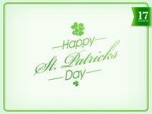 Plakat- oder Fahnendesign für glücklichen St Patrick Tag Lizenzfreie Stockbilder