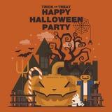 Plakat, Płaski sztandar lub tło dla Halloween przyjęcia nocy, pompa Obrazy Stock