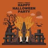 Plakat, Płaski sztandar lub tło dla Halloween przyjęcia nocy, Ręka Fotografia Stock