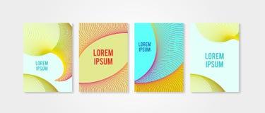 Plakat pokrywy ustawiać z okregów kształtami 5 Trendly nowożytny modniś i Memphis tła kolory Fotografia Royalty Free