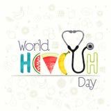 Plakat, sztandar lub ulotka dla Światowych zdrowie dnia, ilustracja wektor