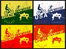 Plakat, sztandar lub ulotka dla sporta pojęcia, Obrazy Stock