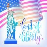 Plakat 4th Lipa usa dnia niepodległości sztandar z amerykańskim fla Zdjęcia Royalty Free