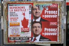 Plakat von Jean-Luc Melenchon Stockfotografie