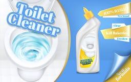 Plakat von Toilettenreinigeranzeigen, Spülwasser mit Reinigungsmittel, Draufsicht in der Illustration 3d Abwaschflüssigkeit und - vektor abbildung