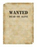 Plakat wünschten Tote oder lebendiges Stockfotos