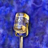 Plakat w rocznika stylu na retro przyjęciu stary mikrofonu ilustracja wektor