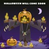 Plakat w stylu wakacje wszystkie zły Halloween Strach na wróble z głową bania przy północą światłem księżyc royalty ilustracja