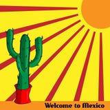 Plakat-Willkommen nach Mexiko mit dem Bild des mexikanischen Kaktus und der Sonne Lizenzfreie Stockfotografie
