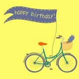 Plakat z śliczna ręka rysującym miasto rowerem Obraz Royalty Free