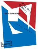 Plakat z abstrakta tekstem i postaciami był szczęśliwym drukiem Fotografia Royalty Free