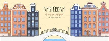 Plakat z Amsterdam, Holandia Most, bicykl Zdjęcie Stock