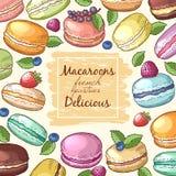 Plakat z barwionymi ilustracjami macaroons Tło z jedzenie obrazkami i miejsce dla twój teksta Zdjęcie Stock