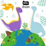 Plakat z dinosaurami na kuli ziemskiej - wektorowa ilustracja, eps ilustracji
