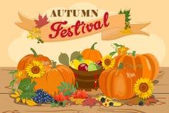 Plakat z dyniową uprawą i owoc dla jesień festiwali/lów wektor Zdjęcia Royalty Free