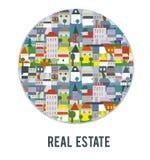 Plakat z grodzkimi budynkami i krajobrazem dla nieruchomości agenci, okrążający projekt, graficzna ilustracja Fotografia Royalty Free
