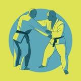 Plakat z jiu-jitsu wojownikami Zdjęcia Royalty Free