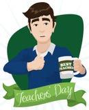 Plakat z Młodym nauczyciela projektem Świętuje jego wakacje, Wektorowa ilustracja ilustracji