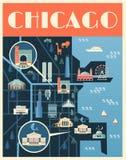 Plakat z mapą Chicagowscy punkty zwrotni ilustracja wektor
