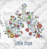 Plakat z płucami i kwiatami - pojęcie dla piękna lub wolności ilustraci Zdjęcie Stock