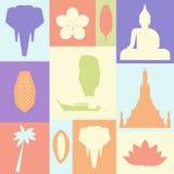 Plakat z symbolami Tajlandia Zdjęcie Royalty Free